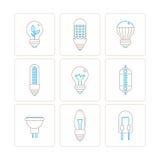 Insieme delle icone e dei concetti della lampadina di vettore nella mono linea stile sottile Fotografia Stock