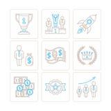 Insieme delle icone e dei concetti di affari di vettore nella mono linea stile sottile illustrazione di stock