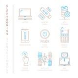 Insieme delle icone e dei concetti di elettronica di vettore nella mono linea stile sottile royalty illustrazione gratis