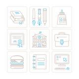 Insieme delle icone e dei concetti di istruzione di vettore nella mono linea stile sottile Fotografie Stock Libere da Diritti