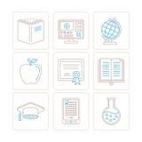 Insieme delle icone e dei concetti di istruzione di vettore nella mono linea stile sottile Fotografie Stock