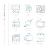 Insieme delle icone e dei concetti di promozione di vettore nella mono linea stile sottile illustrazione vettoriale