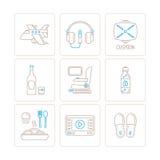 Insieme delle icone e dei concetti di viaggio di vettore nella mono linea stile sottile Immagini Stock