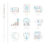 Insieme delle icone e dei concetti finanziari di vettore nella mono linea stile sottile royalty illustrazione gratis