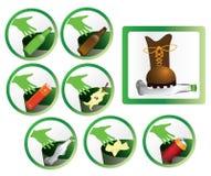 Insieme delle icone e dei segni dei rifiuti per riciclare Fotografie Stock Libere da Diritti