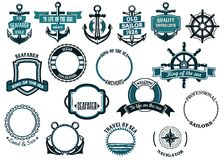Insieme delle icone e dei telai di tema nautici o marini Fotografia Stock Libera da Diritti