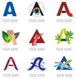 Insieme delle icone e della lettera A. degli elementi di marchio. Fotografie Stock