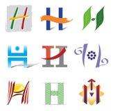 Insieme delle icone e della lettera H degli elementi di marchio Fotografia Stock