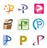 Insieme delle icone e della lettera P degli elementi di marchio Fotografia Stock