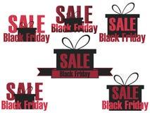 Insieme delle icone e di etichette di Black Friday Autoadesivi sulla vendita Black Friday Progettazione con il contenitore di reg Immagini Stock