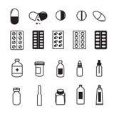 Insieme delle icone farmaceutiche Immagine Stock Libera da Diritti