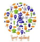 Insieme delle icone felici di Halloween Fotografie Stock Libere da Diritti