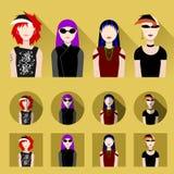Insieme delle icone femminili Immagini Stock Libere da Diritti
