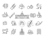 Insieme delle icone georgiane di stile nello stile piano Illustrazione di Stock