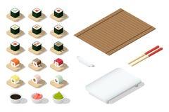 Insieme delle icone giapponesi dell'alimento Fotografie Stock Libere da Diritti