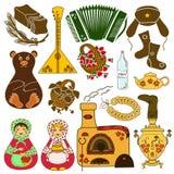 Insieme delle icone isolate con i simboli russi Immagine Stock Libera da Diritti