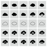 Insieme delle icone isolate della nuvola di vettore Immagine Stock
