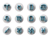 Insieme delle icone isolate dello zodiaco 3D per il web e la stampa Fotografie Stock