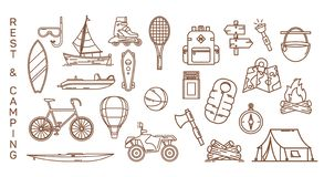 Insieme delle icone isolate di estate per ricreazione illustrazione vettoriale