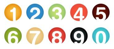 Insieme delle icone isolate insolite di numero Fotografie Stock