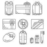 Insieme delle icone lineari dei regali festivi di varie forme Fotografia Stock Libera da Diritti