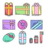 Insieme delle icone lineari di colore dei regali festivi di varie forme Immagini Stock Libere da Diritti