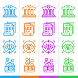 Insieme delle icone lineari, finanza di vettore, contante Adatto a websi Fotografie Stock Libere da Diritti