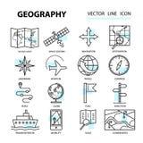 Insieme delle icone lineari moderne con gli elementi di geografia illustrazione vettoriale
