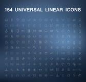 Insieme delle icone lineari su un fondo confuso Fotografie Stock