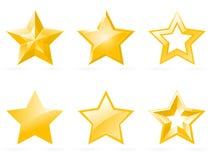 Insieme delle icone lucide della stella Fotografia Stock Libera da Diritti