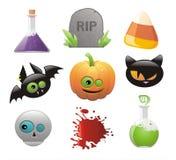 Insieme delle icone lucide di Halloween Fotografie Stock