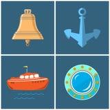 Insieme delle icone marine Immagine Stock