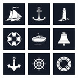Insieme delle icone marine Fotografia Stock Libera da Diritti