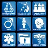 Insieme delle icone mediche nel fondo quadrato blu Immagini Stock Libere da Diritti