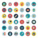 Insieme delle icone mediche piane Fotografia Stock Libera da Diritti