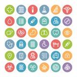 Insieme delle icone mediche rotonde piane Fotografie Stock Libere da Diritti
