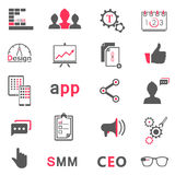 Insieme delle icone moderne app, seo, smm Fotografia Stock