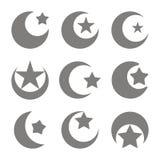 Insieme delle icone monocromatiche con il simbolo della luna crescente di islam con la stella illustrazione vettoriale