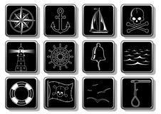 Insieme delle icone nautiche Immagine Stock