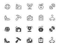 Insieme delle icone nelle progettazioni di glifo e lineari Stile di vita sano, sport, turismo, tema di affari Profilo ed etichett illustrazione vettoriale
