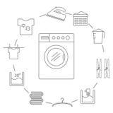 Insieme delle icone nello stile di un filo stendibiancheria Icone della lavanderia sistemate in un cerchio Fotografie Stock