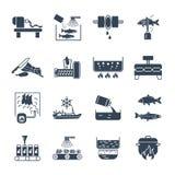 Insieme delle icone nere alimento, processo di produzione del pasto, pesce illustrazione vettoriale