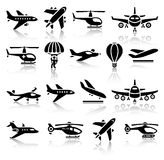 Insieme delle icone nere degli aerei Immagine Stock