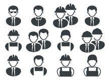 Insieme delle icone nere degli uomini del costruttore Fotografie Stock Libere da Diritti