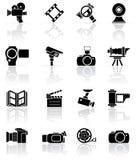 Insieme delle icone nere del foto-video Immagine Stock Libera da Diritti