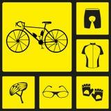 Insieme delle icone nere della siluetta dell'uniforme della bicicletta Sei icone della bici, elementi infographic Illustrazione d Immagini Stock
