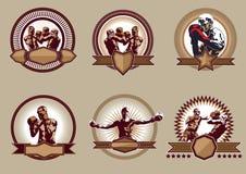 Insieme delle icone o degli emblemi combattivi di sport Fotografie Stock Libere da Diritti