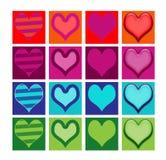 Insieme delle icone o dei bottoni generici del cuore Fotografia Stock Libera da Diritti