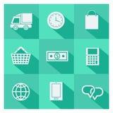 Insieme delle icone online di commercio elettronico e di acquisto Immagini Stock Libere da Diritti