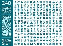 Insieme delle icone, pacchetto universale di qualità, grande progettazione di vettore della raccolta dell'icona Fotografie Stock Libere da Diritti